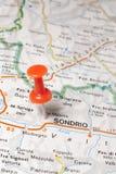 Sondrio pinned on a map of Italy. Road map of the city of Sondrio Italy stock photo