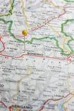 Sondrio pinned on a map of Italy. Road map of the city of Sondrio Italy royalty free stock photography