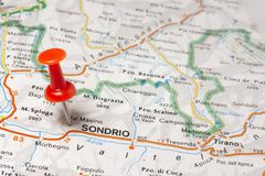 Sondrio pinned on a map of Italy. Road map of the city of Sondrio Italy stock image