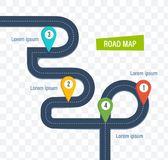 Road map with colorful bright marks markers and road. Road map with colorful bright marks markers and road, with a paved route. Roadmap template design on royalty free illustration
