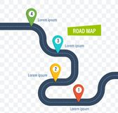 Road map with colorful bright marks markers and road. Road map with colorful bright marks markers and road, with a paved route. Roadmap template design on vector illustration