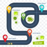 Road map with colorful marks markers, dotted line for cars. Road map with colorful marks markers, with paved asphalt route, dotted line for cars. Moving cars on vector illustration