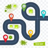 Road map with colorful marks markers, dotted line for cars. Road map with colorful marks markers, with paved asphalt route, dotted line for cars. Moving cars on stock illustration