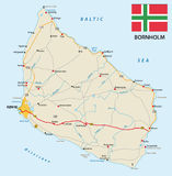 Road map of the Danish Iseland bornholm in the Baltic sea with flag Stock Image