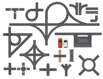 Road Map Design Element Set. Top view vector elements.. Set of road Top view vector elements.Part of road highway, road junctions,road for traffic.Top view Royalty Free Stock Photos