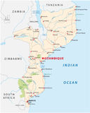 Road map of East African State mozambique Royalty Free Stock Photos