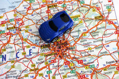 Road map of France with car Royalty Free Stock Image