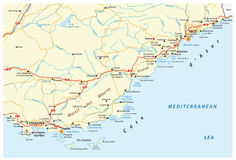 Road map of french riviera, france Royalty Free Stock Photo