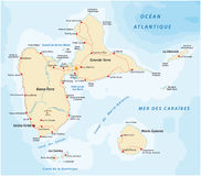 Road map of Guadeloupe Stock Photography