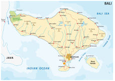 Road map of the indonesian island of bali Royalty Free Stock Images