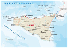 Road map of the italian mediterranean island Sicily Royalty Free Stock Image