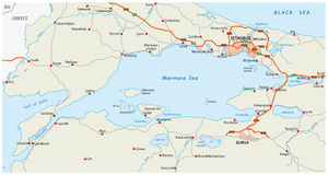 Road map marmara sea with istanbul Royalty Free Stock Images