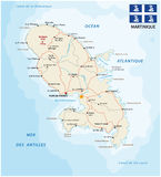 Road map of Martinique with flag Royalty Free Stock Photos
