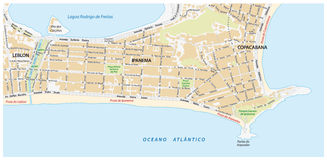 Road map with names of the Ipanema district of Rio de Janeiro Stock Photography