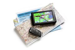 Road map and navigator Stock Image