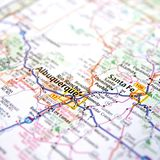 Road Map of New Mexico USA. A close up of a road map of New Mexico cities of Albuquerque and Santa Fe with a shallow depth of field royalty free stock image