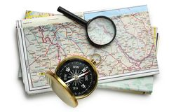 Road map plan and compass. On white Royalty Free Stock Photos
