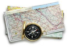 Road map plan and compass. On white Stock Images