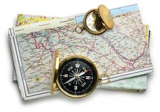 Road map plan and compass Royalty Free Stock Photo