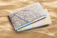 Road map on sand Royalty Free Stock Photography