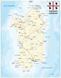 Road map of sardinia Iseland with flag Stock Photos