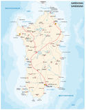 Road map of  sardinia Iseland Stock Image