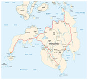 Road map of the second largest Philippine islands Mindanao.  Royalty Free Stock Images