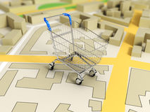 Road map with shopping cart Stock Image