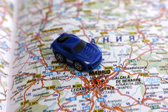Road map of Spain with car Stock Photography