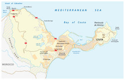 Road map of the Spanish enclave ceuta on the African continent Royalty Free Stock Images