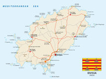 Road map of the Spanish Mediterranean Sea Eivissa with flag. Vector road map of the Spanish Mediterranean Sea Eivissa with flag Stock Photo