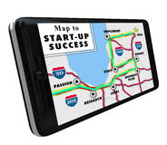 Road Map Start-Up Success Directions Navigation. Map to Start-Up Success on a navigation system displayed on a smart phone or tablet to offer tips or advice on Royalty Free Stock Photos