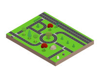 Road map. Trees and stones.3D isometric. Vector illustration. Royalty Free Stock Images