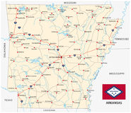 Road map of the US state arkansas with flag Stock Photo