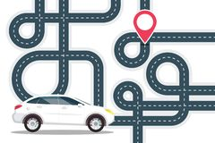 Road Map with White Car on Start and Red Pin the Location on Destination Point. Vector Journey Concept. GPS Navigation Design stock illustration