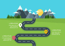 Road with markers, vector infographics template. Winding road in green field and mountains.. Rural street flat style illustration. Summer or spring landscape Royalty Free Stock Photography