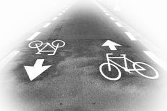 Road marking. Of the bicycle path aspirng to persprctive Stock Photo