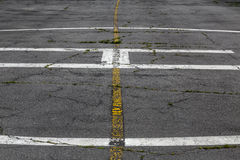 Road marking on an airstrip Stock Images