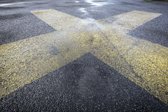 Road marking on an airstrip Royalty Free Stock Photo