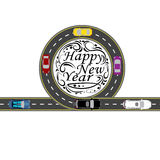 Road with a marking. Cars. Greeting inscription Happy New Year . illustration. Road with a marking. Cars. Greeting inscription Happy New Year. Vector vector illustration