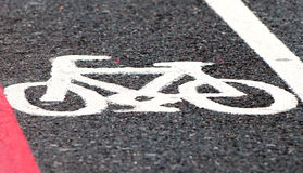 Road marking of cycle lane Royalty Free Stock Photography