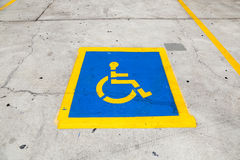 Road marking for a disabled parking space Royalty Free Stock Image