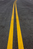 Road Marking - Double Yellow Lines Royalty Free Stock Image