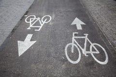 Bicycle Lane. Road marking indicating a bicyle lane. Shot in Tel-Aviv, Israel Stock Photography