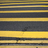 Road Marking - Many Yellow Lines Stock Photography