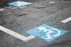 Road marking of place for disabled persons Stock Photo