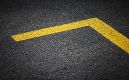 Road marking with yellow lines Royalty Free Stock Images