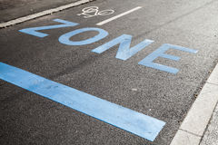 Road marking with zone, stop line and bicycle sign Royalty Free Stock Photo
