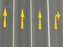 Road Markings. Direction arrows on a road from above Royalty Free Stock Photo