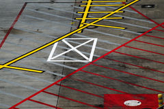 Road markings for the aircrafts at an international airport, abs Royalty Free Stock Photography